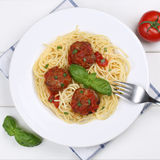 Italian cuisine spaghetti with meatballs noodles pasta meal from Royalty Free Stock Image