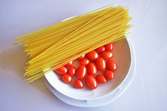 Italian cuisine, spaghetti with tomato. Stock Photos