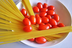 Italian cuisine, spaghetti with tomato. Stock Photo