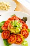 Italian cuisine starter, avocado shrimps salad Stock Image