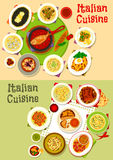 Italian cuisine tasty lunch dishes icon set design. Italian cuisine lunch icon set of pasta dishes with seafood, meat and pesto sauce, chicken spaghetti with Royalty Free Stock Photography