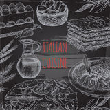Italian cuisine template on blackboard bavkground. Includes hand drawn sketch of pizza, lasagna, tiramisu, pasta, olives and spices. Great for restaurants Stock Image