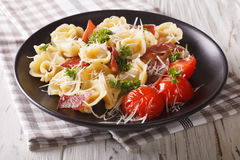 Italian cuisine: tortilini with ham, tomatoes, herbs and cheese Royalty Free Stock Photo