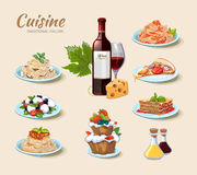 Italian cuisine vector icons set in cartoon style Stock Photography