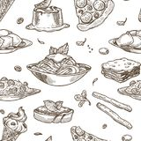 Italian cuisine vector sketch seamless pattern. Italian cuisine sketch pattern background. Vector seamless design of traditional Italy food dishes of pasta Stock Photography