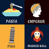 Italian culture, history and cuisine flat icons Royalty Free Stock Photography