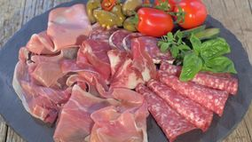 Italian Cured Meat Platter Rotating stock footage