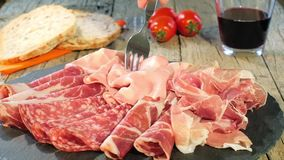 Italian Cured Meat Platter Rotating stock video