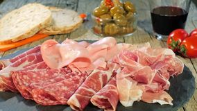 Italian Cured Meat Platter Rotating stock video footage