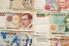 Banknotes background. Italian lira banknotes horizotal background Royalty Free Stock Photos