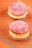 Italian custard pastries with alchermes Stock Photography