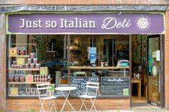 Italian Delicatessen in Leicestershire, UK stock photography