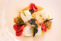 Italian delicious appetizer with codfish Baccala and cherry to stock image