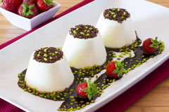 Italian dessert called panna cotta Royalty Free Stock Photo