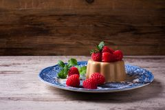 Italian dessert coffee panna cotta Stock Image