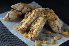 Italian dessert, espresso and cantucci cookies, closeup Royalty Free Stock Photos