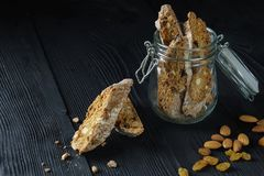 Italian dessert, espresso and cantucci cookies, closeup Royalty Free Stock Photography