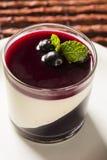 Italian dessert pannacotta with redfruit and mint. Stock Image