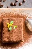 Italian Dessert Tiramisu with Mascarpone Cheese and Espresso Coffee. Fine Italian Dessert Tiramisu with Mascarpone Cheese and Espresso Coffee on Dark Stone Table royalty free stock photos