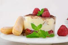 Italian dessert tiramisu. Italian dessert tiramisu with raspberries Stock Image