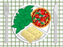 Italian dinner. The plate with salad, pizza and chees royalty free illustration