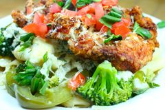 Italian Dinner with Vegetables. Chicken Broccoli Penne Pasta Dinner Royalty Free Stock Photos