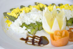 Italian dish. Italian asparagus cooked with rice and eggs royalty free stock photo