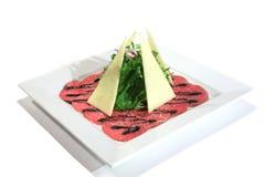 Italian dish: carpaccio of beef marble Stock Image