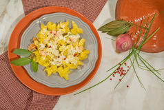 Italian dish of handmade tortellini with salmon,cream and pink pepper.Decorated with bay leaf,onion and chives. Stock Photos