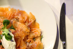 Italian dish of raw salmon and mozzarella stock photography
