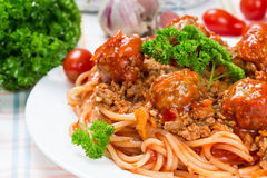Italian dish spaghetti bolognese. With beef meatballs and parsley Stock Photo