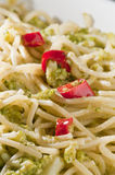 Italian dish of spaghetti with broccoli Royalty Free Stock Image
