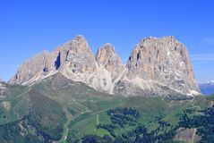 Italian Dolomites. Summer portrait of Italian Dolomites in val di Fassa South Tyrol Alps Italy royalty free stock photo