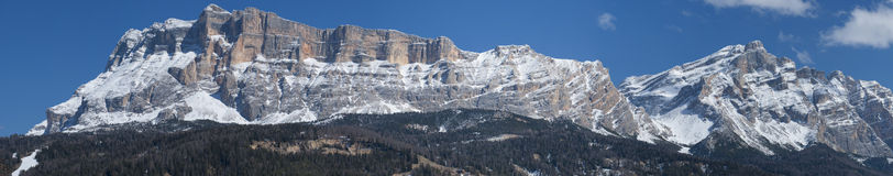 Italian Dolomites huge panorama view in winter time Stock Photos