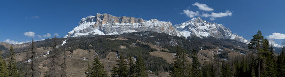 Italian Dolomites huge panorama view in winter time Stock Photography