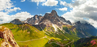Italian Dolomiti -  panoramic view of high mountains Stock Image