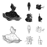 Italian dress, gelato, pinocchio, goddess of love. Italy set collection icons in black,outline style vector symbol stock. Illustration Royalty Free Stock Photo