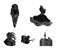 Italian dress, gelato, pinocchio, goddess of love. Italy set collection icons in black style vector symbol stock. Illustration Stock Images
