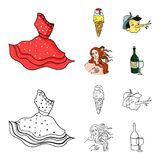 Italian dress, gelato, pinocchio, goddess of love. Italy set collection icons in cartoon,outline style vector symbol. Stock illustration Stock Photography