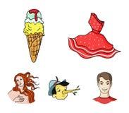 Italian dress, gelato, pinocchio, goddess of love. Italy set collection icons in cartoon style vector symbol stock. Illustration Stock Photos