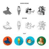 Italian dress, gelato, pinocchio, goddess of love. Italy set collection icons in flat,outline,monochrome style vector. Symbol stock illustration Stock Photo
