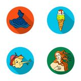 Italian dress, gelato, pinocchio, goddess of love. Italy set collection icons in flat style vector symbol stock. Illustration Stock Images