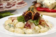 Italian dumplings carbonara Stock Photo
