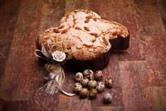 Italian Easter Dove And Quail Eggs Stock Images