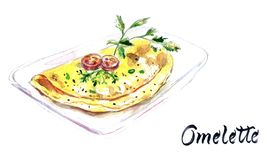 Italian egg omelette with tomatoes, herbs on a white plate, wate stock illustration