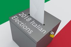 2018 Italian Elections concept. 3D illustration of 2018 Italian Elections script on a ballot box, with Italian flag as a background royalty free illustration