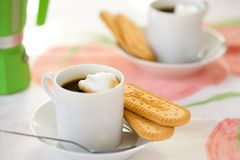 Italian Espresso and Biscuits for Two Royalty Free Stock Photos