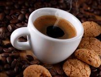 Italian espresso coffee and amaretti Stock Photo