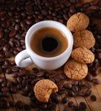Italian espresso coffee and amaretti Royalty Free Stock Photo