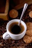 Italian espresso coffee and amaretti Stock Images